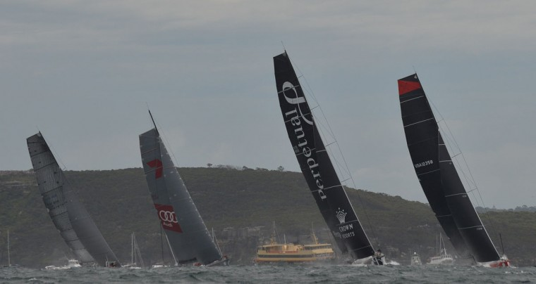 Photo taken on December 26, 2015 shows Supermaxi yacht Comanche (R) leading Perpetual Loyal (2nd-R) Ragamuffin 100 (L) and Wild Oats XI (2nd-L) at the start of the Sydney to Hobart yacht race in Sydney. (PETER PARKS/AFP/Getty Images)