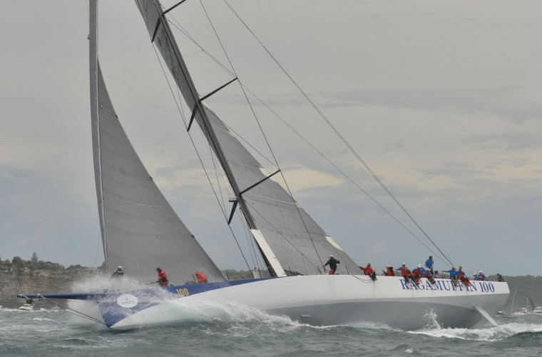 Photo taken on December 26, 2015 shows Supermaxi yacht Ragamuffin 100 after the start of the Sydney to Hobart yacht race in Sydney. (PETER PARKS/AFP/Getty Images)