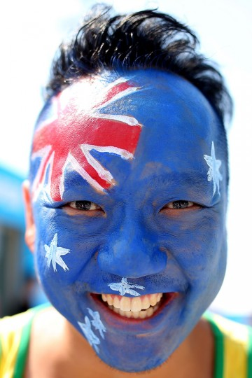 A tennis fan shows his support on Australia Day during day nine of the 2016 Australian Open at Melbourne Park on January 26, 2016 in Melbourne, Australia. (Graham Denholm/Getty Images)