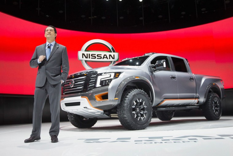 Jose Munoz, executive vice president of Nissan, introduces the Titan Warrior concept pickup truck at the North American International Auto Show on January 11, 2016 in Detroit, Michigan. The show is open to the public from January 16-24. (Photo by Scott Olson/Getty Images)