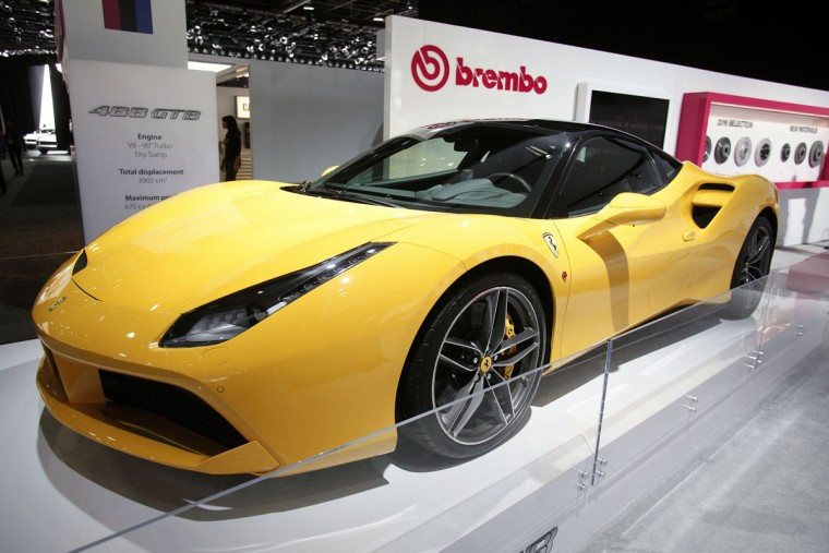 A Ferrari 488 GTB is shown at the Brembo exhibit at the 2016 North American International Auto Show January 12, 2016 in Detroit, Michigan. The NAIAS runs from January 11th to January 24th and will feature over 750 vehicles and interactive displays. (Photo by Bill Pugliano/Getty Images)
