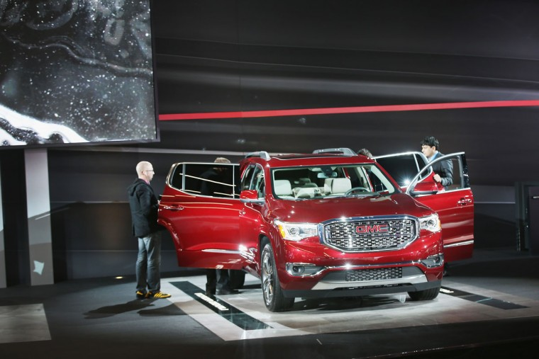 GMC shows off the Acadia Denali at the North American International Auto Show on January 12, 2016 in Detroit, Michigan. The show is open to the public from January 16-24. (Photo by Scott Olson/Getty Images)