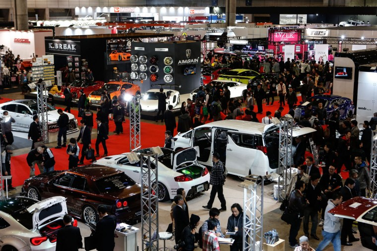 Visitors gather at the 2016 Tokyo Auto Salon car show on January 15, 2016 in Chiba, Japan. (Photo by Christopher Jue/Getty Images)