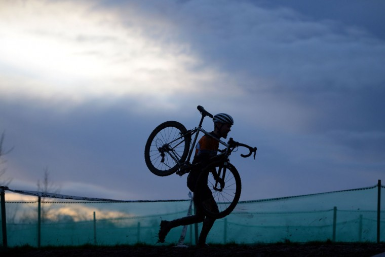 A rider competes in the Elite Men's Championship of the 2016 British Cycling National Cyclo-Cross Championships at Shrewsbury Sports Village on January 10, 2016 in Shrewsbury, Central England. (OLI SCARFF/AFP/Getty Images)