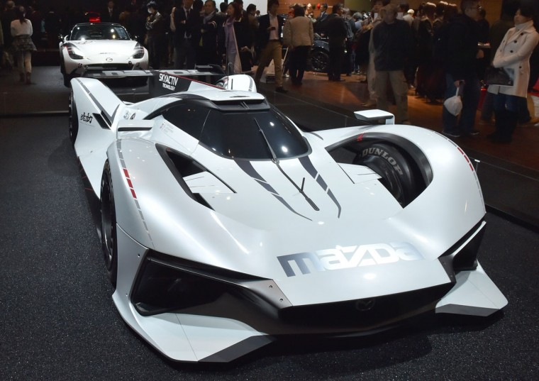 Mazda Motor displays the full-scale model virtual sports car, the Mazda LM55 Vision Gran Turismo at Tokyo Auto Salon 2016 at Makuhari Messe in Chiba on January 15, 2016. The exhibition, which is one of the largest annual custom car and car-related product shows, is being held from January 15 to January 17. (AFP Photo/Kazuhiro Nogi)