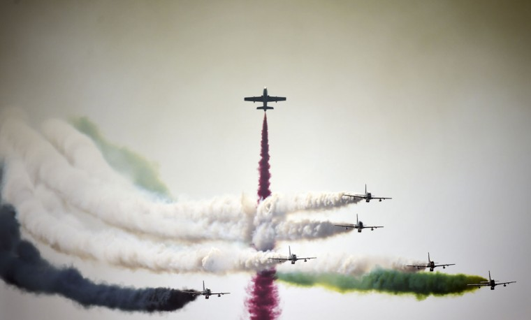 UAE's Al-Fursan display team perform during the opening of the Bahrain International Airshow 2016, in Sakhir, south of the capital Manama, on January 21, 2016. (MOHAMMED AL-SHAIKH/AFP/Getty Images)