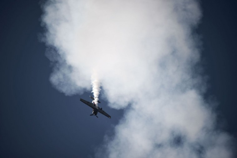 A plane from the Bahraini display team performs during the opening of the Bahrain International Airshow 2016, in Sakhir, south of the capital Manama, on January 21, 2016. (MOHAMMED AL-SHAIKH/AFP/Getty Images)