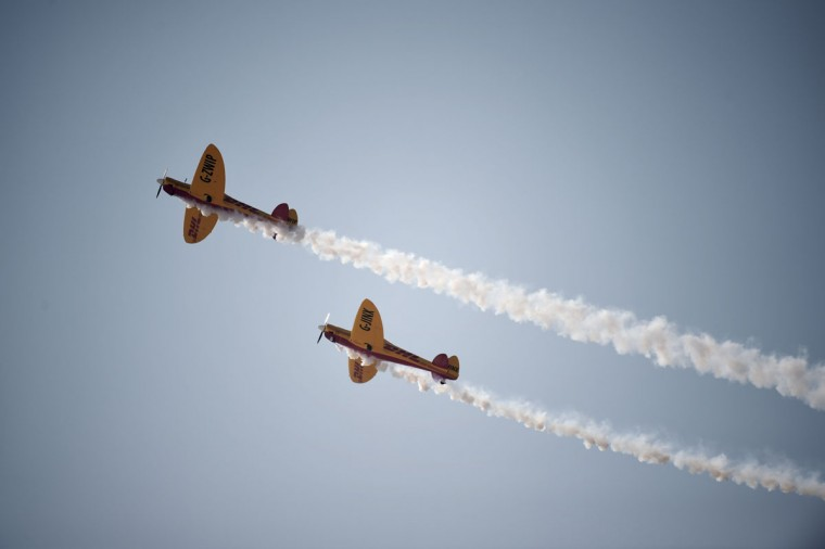 DHL Extras display team during the opening of the Bahrain International Airshow 2016, in Sakhir, south of the capital Manama, on January 21, 2016. (MOHAMMED AL-SHAIKH/AFP/Getty Images)