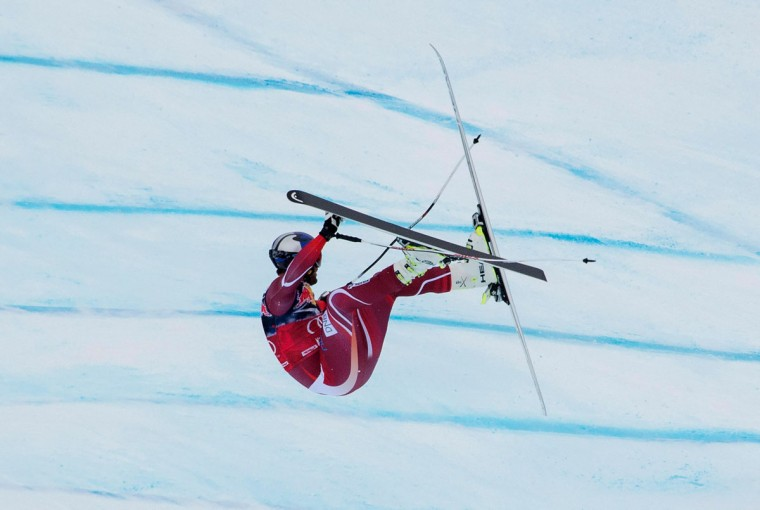 Aksel Lund Svindal of Norway crashes as he competes during the men's downhill of FIS Ski World cup in Kitzbuehel, Austria on January 23, 2016. / (JOE KLAMAR/AFP/Getty Images)