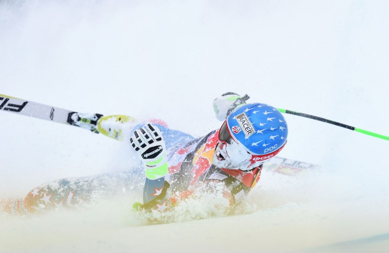 Steven Nyman from USA sledges after his crash during the Audi FIS Alpine Ski World Cup Men's Downhill on January 23, 2016 in Kitzbuehel, Austria. (CHRISTOF STACHE/AFP/Getty Images)