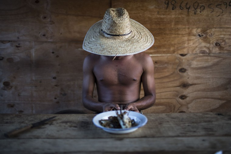 In this Nov. 17, 2015 photo, artisanal diamond miner Rafael sits down to eat fish in Areinha, Minas Gerais state, Brazil. Locals estimate there are hundreds of people across the region digging for diamonds in groups of 10 or less. They live in wooden huts without electricity and bathe with water in buckets, barely surviving without a stable income. On rare occasions miners enjoy a windfall of tens of thousands of dollars. (AP Photo/Felipe Dana)