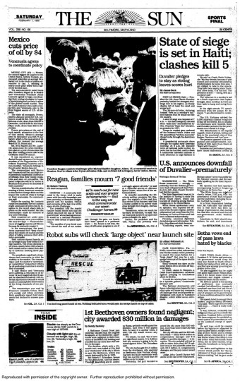 "The Baltimore Sun front page from Saturday, February 11, 1986. ""Reagan, families mourn '7 good friends'"""
