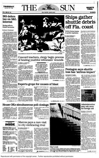 "The Baltimore Sun front page from Thursday, January 30, 1986. ""Ships gather shuttle debris off Florida coast"""