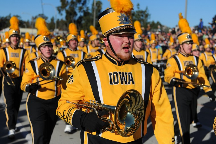 The University of Iowa Hawkeye Marching Band marches down Colorado Boulevard in the 127th Rose Parade in Pasadena, Calif., Friday, Jan. 1, 2016. (AP Photo/Michael Owen Baker)