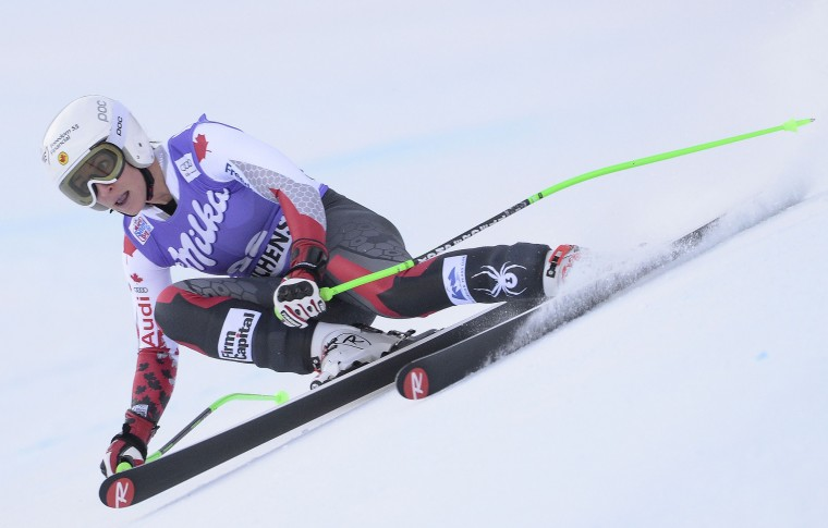 Canadian Larisa Yurkiw competes during the women's downhill race at the FIS Alpine Skiing World Cup in Zauchensee, on January 9, 2016. (ROBERT JAEGER/AFP/Getty Images)