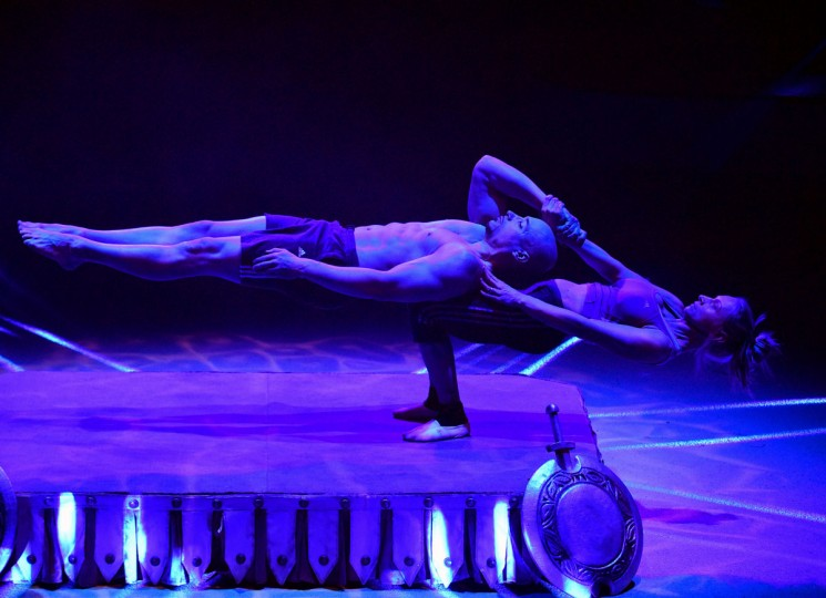 Hungarian power lifting actors, members of the 'Silver Power' duo perform at the Capital Circus during the 11th edition of the International Circus Festival on January 8, 2016 in Budapest. The festival takes place from January 7 to 11, 2016. (ATTILA KISBENEDEK/AFP/Getty Images)