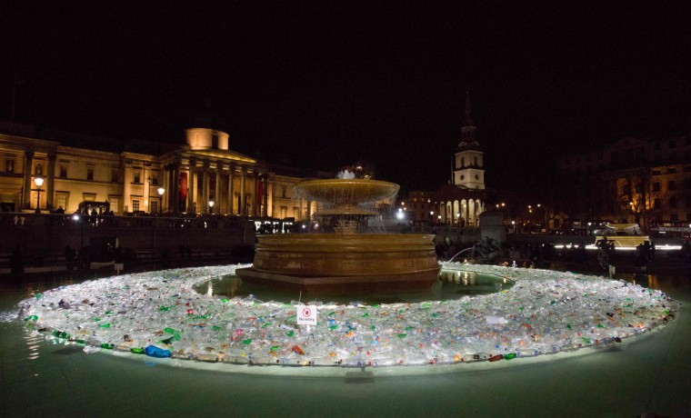 Plastic Islands by Spanish collective Luzinterruptus is on show in a fountain in Trafalgar square as part of the lumiere light festival in London on January 14, 2016. London hosts a festival that brings together international light artists to create installations across the capital. (JUSTIN TALLIS/AFP/Getty Images)