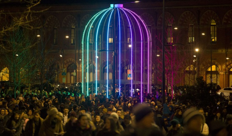 IFO by French artist Jacques Rival is on show as part of the lumiere light festival in London on January 14, 2016. London hosts a festival that brings together international light artists to create installations across the capital. (JUSTIN TALLIS/AFP/Getty Images)