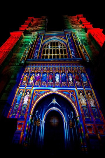The Light of the Spirit by artist Patrice Warrener is exhibited at Westminster Abbey during the Lumiere London exhibition on January 13, 2016 in London, England. The first Lumiere exhibition in London is a free festival of light with exhibits placed in 30 locations across the capital. The event will run from January 14 to January 17. (Photo by Ben Pruchnie/Getty Images)