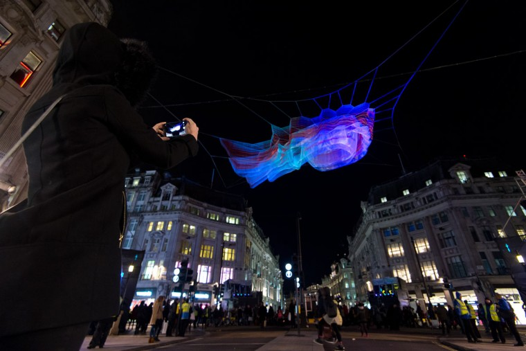 1.8 London by artist Janet Echelman is exhibited over Oxford Street during the Lumiere London exhibition on January 14, 2016 in London, England. The first Lumiere exhibition in London is a free festival of light with exhibits placed in 30 locations across the capital. The event will run from January 14 to January 17. (Photo by Ben Pruchnie/Getty Images)