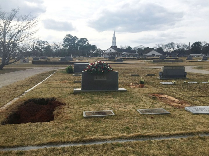 "The Lee family cemetery plot is seen Saturday, Feb. 20, 2016, in Monroeville, Ala. Lee, the elusive author of best-seller ""To Kill a Mockingbird,"" died Friday, Feb. 19, according to her publisher Harper Collins. She was 89. A private funeral service was held for Lee on Saturday. (AP Photo/Kim Chandler)"