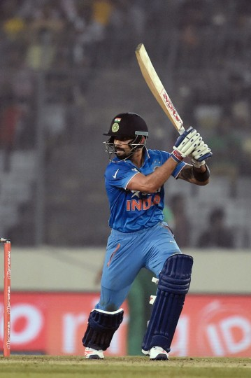 India's Virat Kohli prepares to play a shot during the Asia Cup T20 cricket tournament match between India and Pakistan at the Sher-e-Bangla National Cricket Stadium in Dhaka on February 27, 2016. (Munir uz Zaman/AFP/Getty Images)