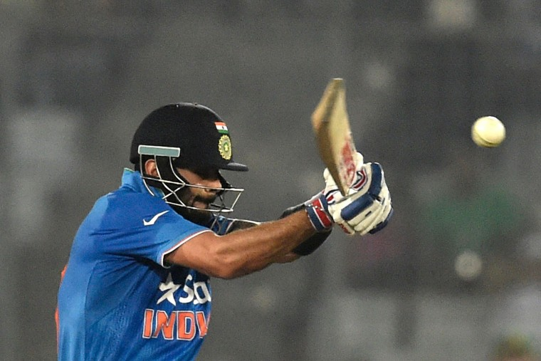 India's Virat Kohli plays a shot during the Asia Cup T20 cricket tournament match between India and Pakistan at the Sher-e-Bangla National Cricket Stadium in Dhaka on February 27, 2016. (Munir uz Zaman/AFP/Getty Images)