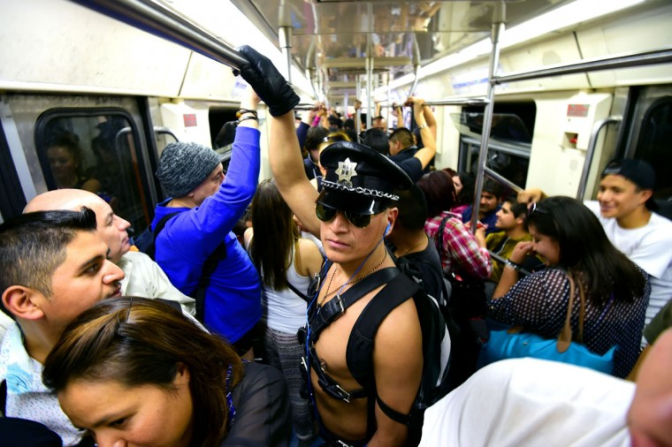 People stand in the subway during the worldwide 'No Pants Subway Ride' event in Mexico City on February 21, 2016. (ALFREDO ESTRELLA/AFP/Getty Images)