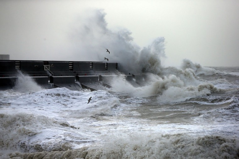 Waves hit a marina wall on February 8, 2016 in Brighton, East Sussex. Storm Imogen is the ninth named storm to hit the UK this season. This year's storms are being named in an effort by the Met Office and Met Eireann to increase public awareness and safety. They were named by public ballot and there are no names for the letters Q, U, X, Y and Z. (Photo by Carl Court/Getty Images)