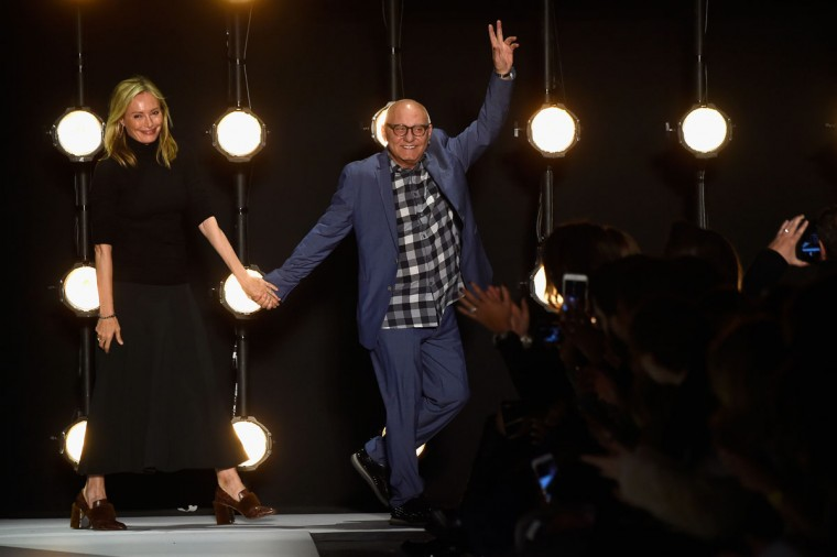 Designers Lubov Azria and Max Azria greet the audience from the runway wearing BCBGMAXAZRIA Fall 2016 during New York Fashion Week: The Shows at The Dock, Skylight at Moynihan Station on February 11, 2016 in New York City. (Photo by Frazer Harrison/Getty Images for NYFW: The Shows)