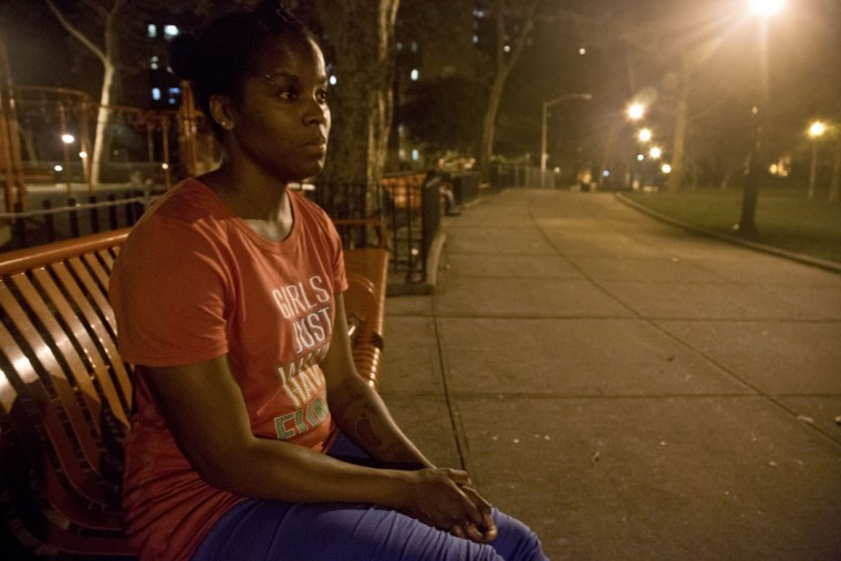 "In this Tuesday, June 23, 2015 photo, refusing to return to a shelter following a confrontation with another resident, Candie Hailey sits on a bench near the housing complex where she once lived, pondering where she will spend the night, in New York. ""I won't sleep until around 5 [a.m.] anyway,"" said Hailey, explaining that during her confinement at Rikers Island jail, she used to stay awake, fearful of abuses she says guards carried out during the night - and at times she wiped herself with feces to keep them away. (AP Photo/Bebeto Matthews)"