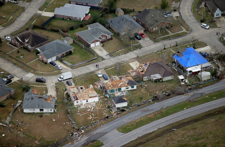 This aerial photo shows damage after a tornado ripped through the area in LaPlace, La., Wednesday, Feb. 24, 2016. (David Grunfeld /NOLA.com The Times-Picayune via AP)