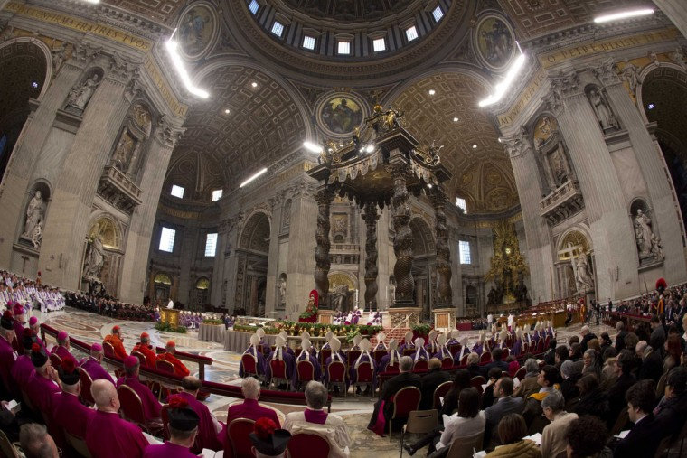 Pope Francis leads the Ash Wednesday mass, in St. Peter's Basilica at the Vatican, Wednesday, Feb. 10, 2016. The Ash Wednesday marks the beginning of Lent, a solemn period of 40 days of prayer and self-denial leading up to Easter. (AP Photo/Alessandra Tarantino)