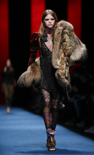A model wears a creation part of the Dsquared2 women's Fall-Winter 2016-2017 collection, part of the Milan Fashion Week, unveiled in Milan, Italy, Monday, Feb. 29, 2016. (AP Photo/Luca Bruno).