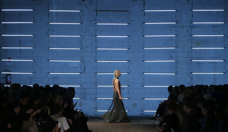 A model wears a creation for Missoni women's Fall-Winter 2016-2017 collection, part of the Milan Fashion Week, unveiled in Milan, Italy, Sunday, Feb. 28, 2016. (AP Photo/Antonio Calanni)