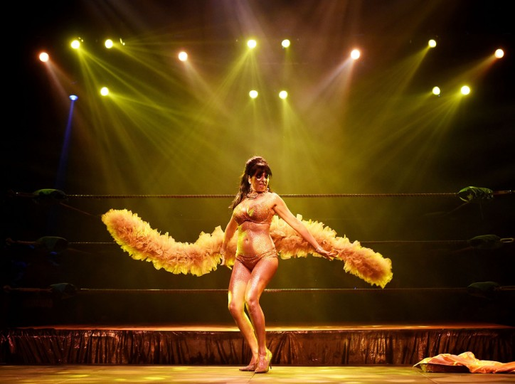 """Striptease artist Moana Santana performs for the audience during the Lucha Va Voom's """"Crazy in Love"""" show at the Mayan Theatre in downtown Los Angeles, California on February 10. (MARK RALSTON/AFP/Getty Images)"""