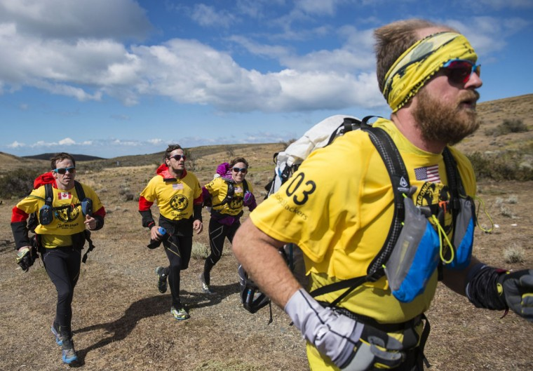 US Yoga Slackers Team competes in the Patagonian Expedition Race, in the southern Chilean Patagonia, near Punta Dungenes on February 16, 2016. (MARTIN BERNETTI/AFP/Getty Images)