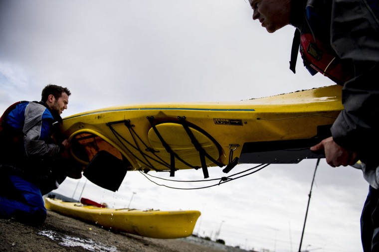 German team Campz Adventure carrying a kayak before a Patagonian Expedition Race, in the southern Chilean Patagonian region near Punta Arenas, on February 14, 2016. (MARTIN BERNETTI/AFP/Getty Images)