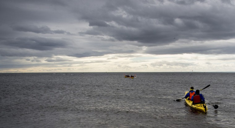 US PRS Fit team testing a kayak during practice before the Patagonian Expedition Race, in the southern Chilean Patagonian region near Punta Arenas, on February 14, 2016. (MARTIN BERNETTI/AFP/Getty Images)