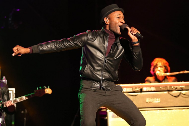 Aloe Blacc performs at Super Bowl City on Monday, Feb. 1, 2016, in San Francisco. (Photo by Omar Vega/Invision/AP)