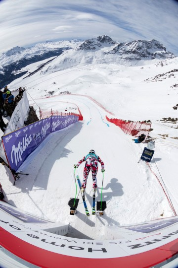 In action during Downhill Training on March 15, 2016 in St Moritz, Switzerland. (Photo by POOL/Alessandro Della Bella)