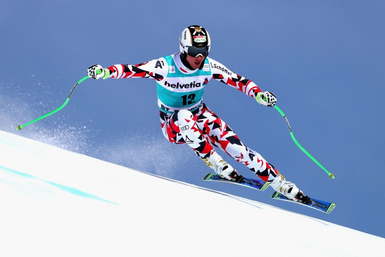 Hannes Reichelt of Austria in action during the Audi FIS Alpine Skiing World Cup downhill training on March 15, 2016 in St Moritz, Switzerland. (Photo by Clive Rose/Getty Images)