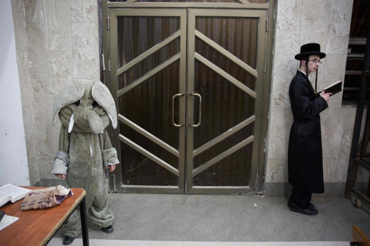 An Ultra-Orthodox Jewish young man prays next to a dressep up kid before before reading the book of Esther at a synagogue in the Israeli city of Beit Shemesh on March 23, 2016 during the feast of Purim. The carnival-like Purim holiday is celebrated with parades and costume parties to commemorate the deliverance of the Jewish people from a plot to exterminate them in the ancient Persian empire 2,500 years ago, as recorded in the Biblical Book of Esther. (AFP Photo/Menahem Kahana)