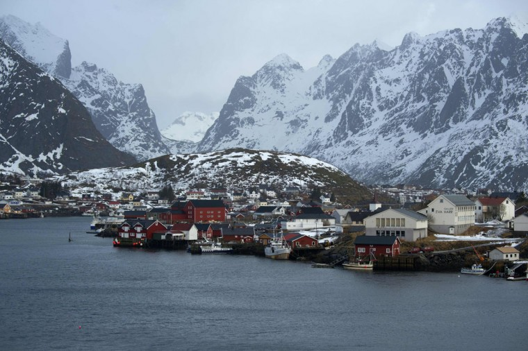 Traditional fisherman village of Reine is photographed, in Lofoten archipelago, Arctic Circle, on March 13, 2016. (OLIVIER MORIN/AFP/Getty Images)