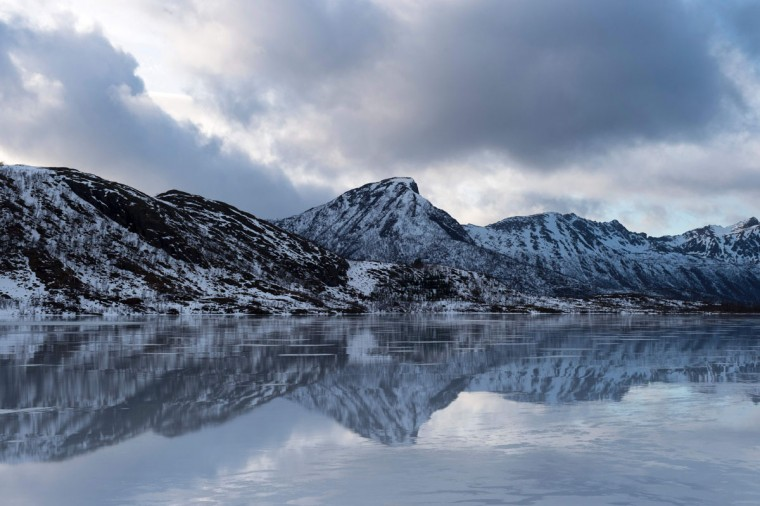 An inside fjord is photographed near Delp, in Lofoten archipelago, Arctic Circle, on March 12, 2016. (OLIVIER MORIN/AFP/Getty Images)