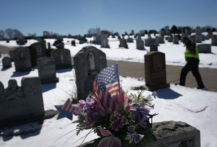 GLOUCESTER, MA - MARCH 22: Gloucester police sergeant Jeremiah Nicastro walks through a cemetery on March 22, 2016 in Gloucester, MA. Gloucester and communities across New England are struggling with an epidemic of overdose deaths due to heroin and opioid pain pill addiction. On March 15, the U.S. Centers for Disease Control (CDC), announced guidelines for doctors to reduce the amount of opioid painkillers prescribed nationwide, in an effort to curb the epidemic. The CDC estimates that most new heroin addicts first became hooked on prescription pain medication before graduating to heroin, which is stronger and cheaper. (John Moore/Getty Images)