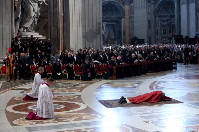 Pope Francis attends the Celebration of the Lord's Passion at St. Peter's Basilica on March 25, 2016 in Vatican City, Vatican. On Good Friday Pope Francis presided over the liturgy of Our Lord's Passion in St Peter's Basilica, and the Way of Cross at the Colosseum. (Photo by Franco Origlia/Getty Images)