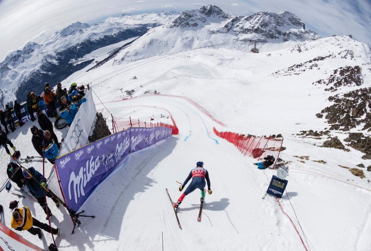 Italy's Peter Fill starts the free fall during the men's downhill practice at the FIS Alpine Ski World Cup Finals, in St. Moritz on March 15, 2016. (Pool/Alessandro Della Bella/AFP/Getty Images)