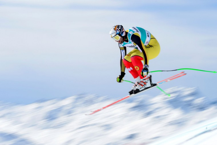 Canada's Manuel Osbone-Paradis jumps during the men's downhill practice at the FIS Alpine Ski World Cup Finals, in St. Moritz on March 15, 2016. (Fabrice Coffrini/AFP/Getty Images)