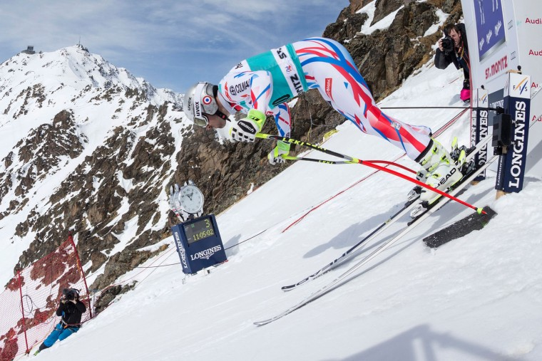 France's Adrien Theaux takes the start of the free fall during the men's downhill practice at the FIS Alpine Ski World Cup Finals, in St. Moritz on March 15, 2016. (Alessandro Della Bella/AFP/Getty Images)